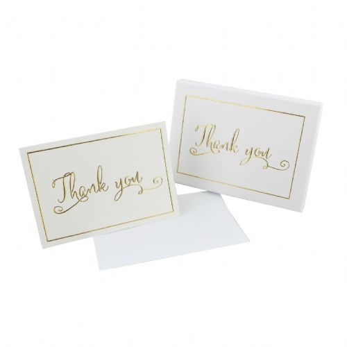 Set of White and Gold Thank You Cards In Box - Wedding thank you cards, 50th Anniversary Thank You Cards